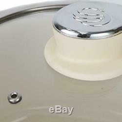 Swan Retro Pan Set with Easy Clean Non-Stick Ceramic Coating, Aluminium, Cream
