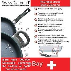 Swiss Diamond 4pc Fry Pan, Casserole & Grill Pan Cookware Set