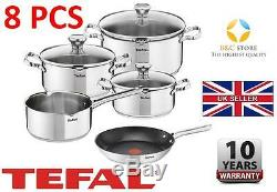 TEFAL DUETTO STAINLESS STEEL COOKWARE SET 8 PCS LID POTS 28 cm PAN KITCHEN best