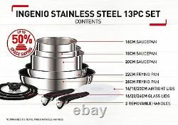 TEFAL Ingenio Pots and Pans Set, Stainless Steel, 13-Piece, Brand New