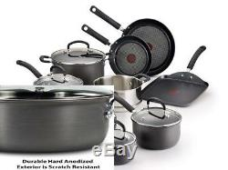 T-fal Hard Anodized Cookware Set, Nonstick Pots and Pans 14 Piece