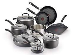 T-fal Hard Anodized Cookware Set, Nonstick Pots and Pans 14 Piece