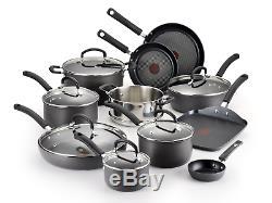 T-fal Hard Anodized Cookware Set, Nonstick Pots and Pans Set, 17 Piece, Heat