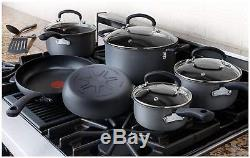 T-fal Hard Anodized Cookware Set Nonstick Pots and Pans Set 17 Piece Thermo-Spot