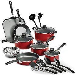 T-fal Initiatives 18 Piece COOKWARE SET Nonstick Pots And Pans SET Charcoal