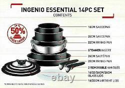 Tefal 14 Piece INGENIO Essential Non-stick Pots & Frypan Cookware Set Black