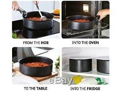 Tefal 14 Piece INGENIO Essential Non-stick Saucepan Frypan Cookware Set, Black
