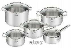Tefal Cookware Set Duetto+ 10 Pcs Saucepan Stewpots Stockpot + Glass LID Pots