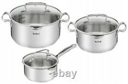Tefal Cookware Set Duetto+ 6 Pcs Saucepan Stewpots With Glass Lids Pots LID Pot