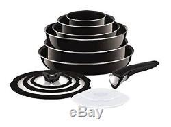Tefal Ingenio 13 Piece Non-stick Enamel Frypan Saucepan Cookware Set, Black