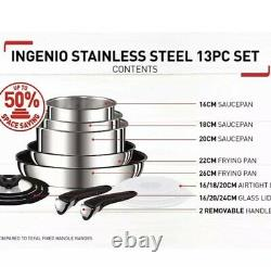 Tefal Ingenio 13 Piece Pan Set Stainless Steel- Induction, Gas & Electric