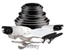 Tefal Ingenio 20 Pieces Set of Frying Pans and Saucepans Aluminium Black