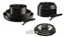 Tefal Ingenio Non-Stick Induction Expertise Saucepan Set, 11 Pieces, Black