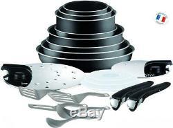 Tefal Ingenio Set of Frying Pans and Saucepans, Aluminium, black, 20 Black