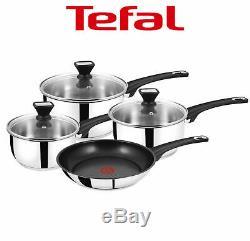 Tefal Jamie Oliver 4 Piece Induction Pan Set Glass Lids Non-Stick Fry Pan £200
