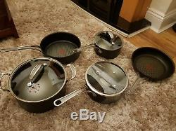 Tefal Jamie Oliver Hard Anodised Induction 5 Piece Cookware Set Fry/Saucepan New