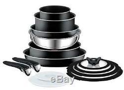 Tefal L2009542 Ingenio Non-stick Essential 14 Piece Pots, Pans Frying Set, Black