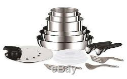 Tefal Set of 15 Parts, Aluminium with Mango Removable, Frying Pans 22 and 10