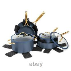 Thyme & Table, 12-Piece Non Stick Cookware Pots And Pans Set, Blue with lids