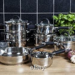 Tower 8 piece Cookware Set Stainless Steel Induction Saucepan Sets Pots and Pans