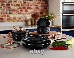 Tower Black & Rose Gold Non Stick Set Saucepans Frying Pans Sensor Bin Spatulas