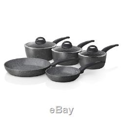 Tower Cerastone T81276 Pan Set with Non-Stick Inner Coating and Tempered Glass L
