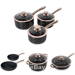 Tower Linear Pan Set with Easy Clean Non Stick Ceramic Coating, Black and Rose 7