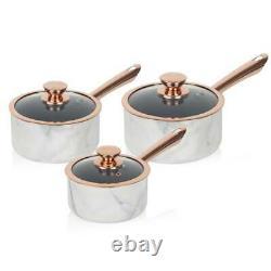 Tower Marble White Rose Gold Linear 5 piece Saucepan & Frying Pan Set Non-Stick