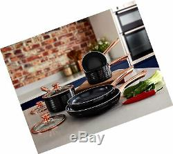 Tower Rose Gold Pot and Pan Set, Non Stick and Easy to Clean, Black, 5 Pieces