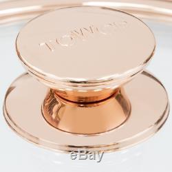 Tower Saucepan Set Ceramic Non-Stick Inner Coating Glass Lid White Rose Gold 3PC