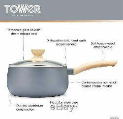 Tower Scandi Pots and Pans Set, Non Stick with Soft Touch Wood Effect Handles