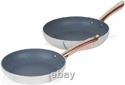 Tower T800060WR 2 Piece 24/28cm Frying Pan Set In Marble & Rose Gold Brand New