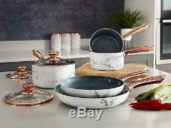 Tower T800064WR 5pce Non-Stick Pan Set Marble and Rose Gold Brand New