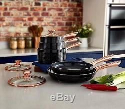 Tower T800140RB Linear 5 Piece Non-Stick Pan Set in Black and Rose Gold Brand