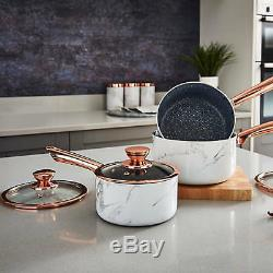 Tower White Marble Linear 5 piece Saucepan & Frying Pan Set with Non-Stick