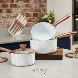 Tower White & Rose Gold Linear 5 piece Saucepan & Frying Pan Set with Non-Stick