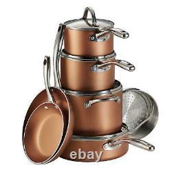 Tramontina, 11-Piece Nonstick Cookware Pots Pans Lids Set (Choose Color)