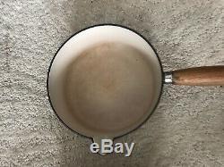 VINTAGE LE CREUSET CAST IRON 5x SAUCE PAN SET HAZELNUT WITH ORIGINAL STAND