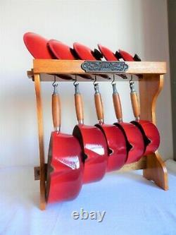 VINTAGE LE CREUSET CAST IRON 5x SAUCE PAN SET RED CHERRY WITH ORIGINAL STAND