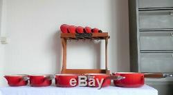 VINTAGE LE CREUSET CAST IRON 5x SAUCE PAN SET RED CHERRY WITH ORIGINAL STAND