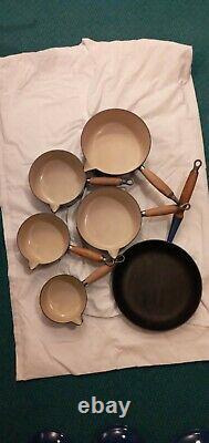 Vintage Cast Iron Blue Le Crueset Pot And Pan Set