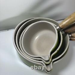 Vintage Le Creuset Cast Iron Pan Set x 4 With Stand Yellow Lemon Rare