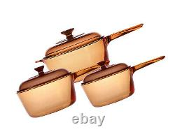 Visions 6 Piece Saucepan Set Glass Ceramic See Through Amber Colour Cookware UK