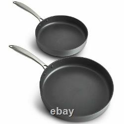 VonShef 2-Piece Hard Anodised Non-Stick Frying Pan Set Dishwasher Safe 24cm 28cm