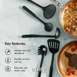 VonShef Copper Pan Set 11 pc Cookware Pots Kitchen Utensils Induction Non Stick
