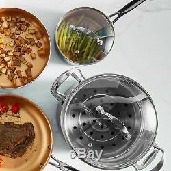 VonShef Copper Pan Set 11pc Cookware Pots Kitchen Utensils Induction Non Stick