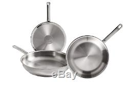WMF Profi Set of 3 Stainless Steel Frying Pans 20 24 28 cm with Non-Stick for