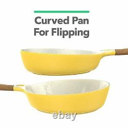 Yellow Ceramic Cookware Nonstick Induction Pots & Pan Wood Style Handle 8 Pieces