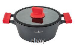Zwieger Obsidian Set Of Pots 6 Pcs Cookware Die-cast Aluminium Stewpots Lids Pot