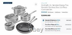 Zwilling J. A. Henckels Energy Plus Nonstick Stainless Steel 10-Pc Cookware Set